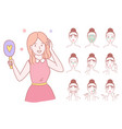 young woman cleaning and care her face with vector image