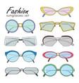 hand drawn fashion sunglasses set realistic vector image