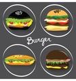 Set of fast food burgers burritos vector image