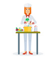 chef cook vegetables vector image