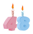 48 years birthday number with festive candle for vector image vector image