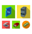 a system unit a flash drive a scanner and a sd vector image vector image