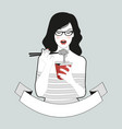 beautiful girl with glasses wearing striped vector image vector image