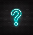 blue glowing outline neon question mark or sign on vector image vector image