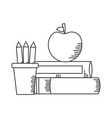 books apple pencils school supplies vector image vector image