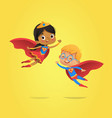 boy and african american girl wearing costumes vector image vector image