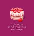 cake strawberry cream vector image vector image