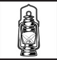 camping lamp vintage black and white adventure vector image