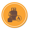 camping stove with gas bottle icon vector image vector image