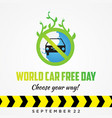 car free day poster design for element design in vector image