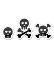 Cartoon skull with bones and hearts icon vector | Price: 1 Credit (USD $1)