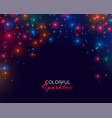 colorful neon sparkles on dark background design vector image