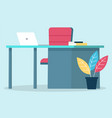 comfort and modern workplace with laptop at office vector image vector image