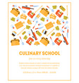 culinary school banner template invitation card vector image vector image