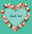 cupcake card template vector image