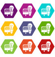 electricity icons set 9 vector image vector image