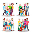 family set big full happy family portrait vector image