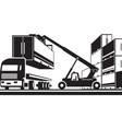 forklift loading truck with cargo container vector image