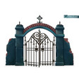 gates to cemetery happy halloween 3d cartoon vector image vector image