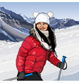 girl with ski poles in snowy mountains vector image