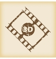Grungy 3D film icon vector image vector image