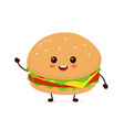 happy smiling funny cute burger vector image