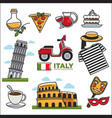 italian traditional symbols colorful set on vector image vector image
