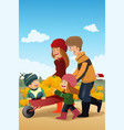 kids and their parents on a pumpkin patch vector image vector image