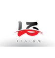lz l z brush logo letters with red and black vector image vector image