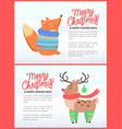 merry christmas holiday banners with fox and deer vector image vector image