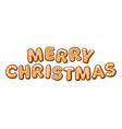 merry christmas text composed gingerbread vector image vector image