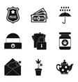 militia icons set simple style vector image vector image