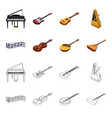 musical instrument cartoonoutline icons in set vector image vector image