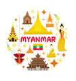 myanmar travel attraction label vector image vector image