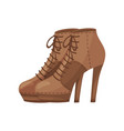 pair of women ankle boots with laces side view vector image