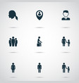 person icons set with male businessman mother vector image