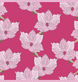 pink magnolia hand drawn flowers vector image vector image