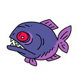 piranha cartoon hand drawn image vector image vector image