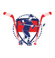 player hockey emblem vector image