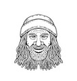 rastafarian dude head front drawing black and vector image vector image