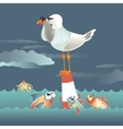 Seagull standing on the buoy and looking through vector image vector image