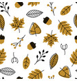 seamless pattern with doodle leaves acorns modern vector image vector image