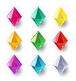 set cartoon pyramidal different color crystals vector image vector image
