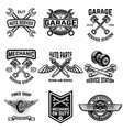 set of auto service emblems service station auto vector image