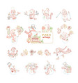 set of cute outlined snowmen vector image