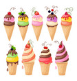 set of isolated ice cream on the white vector image vector image