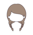 silhouette color sections and light brown hair of vector image vector image