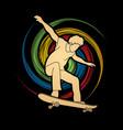 skateboarder jumping man playing skateboard vector image