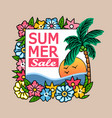 summer sale palm tree banner vector image vector image