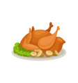 tasty roasted turkey with greens and acorns vector image